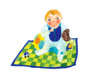 Baby Boy on a Blanket. Illustration of a baby boy on a colorful blanket Stock Photo