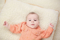 Baby boy on blanket. Capture of Baby boy on blanket Stock Images