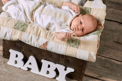 Baby boy and blanket. Little caucasian child Royalty Free Stock Images