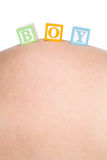 Baby Boy Blocks. On pregnant belly Royalty Free Stock Image