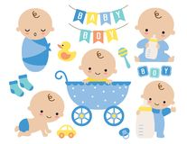 Cute Baby Boy in a Stroller and Baby Items stock image