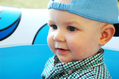 Baby boy in blue. Adorable 10 months old baby boy in blue Royalty Free Stock Images
