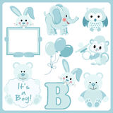Baby boy blue animals digital clipart Royalty Free Stock Photos