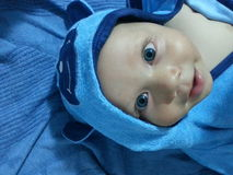 Baby boy with blue bear hood Stock Images