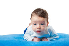 Baby boy on blue blanket Royalty Free Stock Images