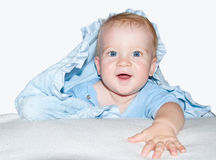 Baby boy. In blue clothes Royalty Free Stock Photo