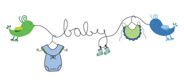 Baby Clothes Hanging Clothes Line Stock Illustrations ...