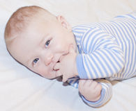 Baby boy with blue eyes looking at the camera. Caught Stock Image