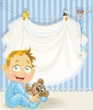 Baby boy blue openwork announcement card. With baby character royalty free illustration