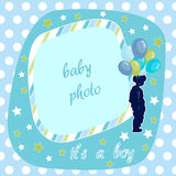 Baby boy, blue photo frame Royalty Free Stock Photos