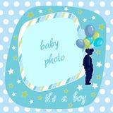 Baby boy, blue photo frame. And  illustration Royalty Free Stock Photos