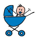 Baby boy in the pram, funny illustration, doodle, vector icon Royalty Free Stock Photos