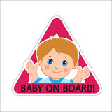 Baby Boy On Board. Vector Illustration. Baby On Board. Baby On Board Sign. Stock Image