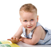 Baby boy with book Royalty Free Stock Image
