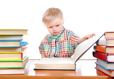 Baby Boy with the Books Stock Images