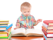 Baby Boy with the Books Royalty Free Stock Image