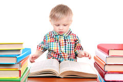 Baby Boy with the Books Stock Image