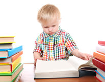 Baby Boy with the Books Stock Photo