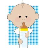 Baby Boy Bottle. Baby boy holding his bottle on a gingham background royalty free illustration
