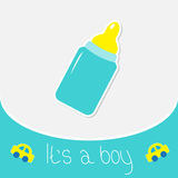 Baby boy bottle. Shower card Stock Photos