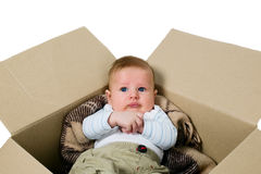 Baby boy in the box Stock Photography