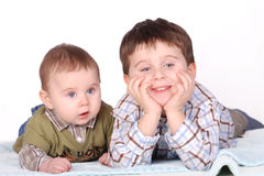 Baby and boy - brothers Stock Images