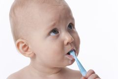 Baby Boy Brushing Teeth Stock Images