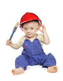 Baby boy in a builder dress Stock Photo