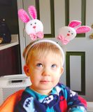 Baby boy with bunny headband for Easter Royalty Free Stock Photo