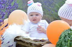 Baby boy in bunny suit Royalty Free Stock Photography