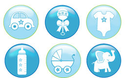 Baby Boy Buttons. Illustration of baby boy items in blue buttons Royalty Free Stock Image