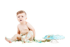 Baby boy with a cake Stock Image