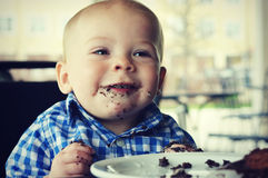 Baby Boy Cake Face Stock Images