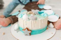 Baby cake smash royalty free stock images