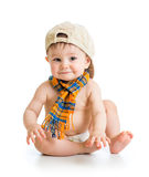 Baby boy in a cap royalty free stock image