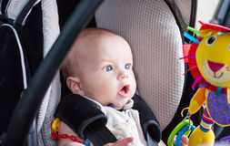 Baby boy in car seat Royalty Free Stock Photo