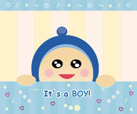Baby boy card. Baby card design with happy little boy royalty free illustration