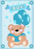 Baby boy card with bear icon Royalty Free Stock Images