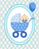 Baby, boy, card, blue lines, rhombuses, vector. A little boy in a blue stroller. A blue ball is tied to the stroller. Color, flat card. Congratulation. Blue Royalty Free Stock Image