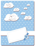 Baby boy card. With button, clouds and different toys Stock Illustration
