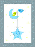 Baby boy card design. A illustration of  baby boy card design with moon and stars Royalty Free Stock Photo