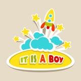 Baby boy card rocket Stock Photos