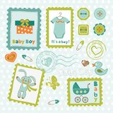 Baby boy card stamps cute collection Royalty Free Stock Photography