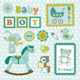 Baby boy card stamps cute collection Stock Image