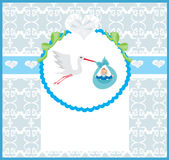 Baby Boy Card - A stork delivering a cute baby boy. Royalty Free Stock Photography