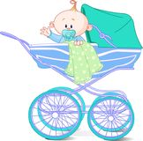 Baby boy in carriage. Baby boy sitting in carriage and waiving hello Stock Image