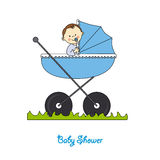 Baby boy in carriage Stock Photos