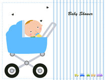 Baby boy carriage with a cute baby Stock Photography