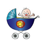 Baby boy in carriage. Royalty Free Stock Photography