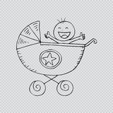 Baby boy in carriage. Royalty Free Stock Images